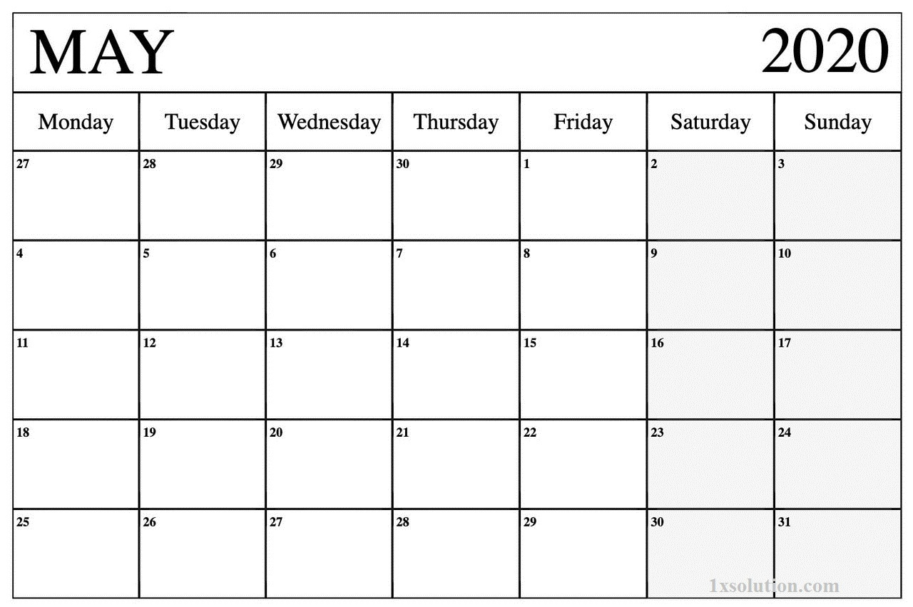 Calendar May 2020 PDF
