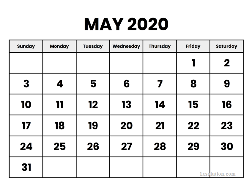 Calendar May 2020 Printable