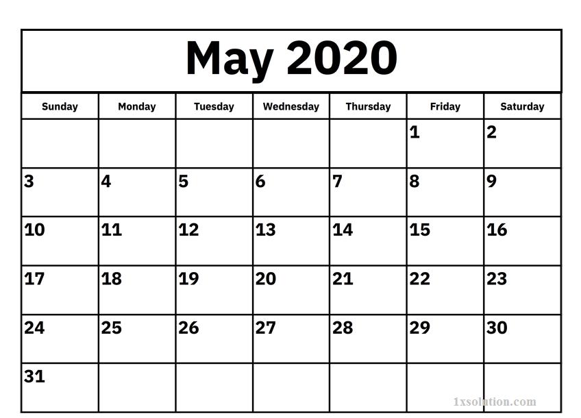 Download May 2020 Calendar PDF