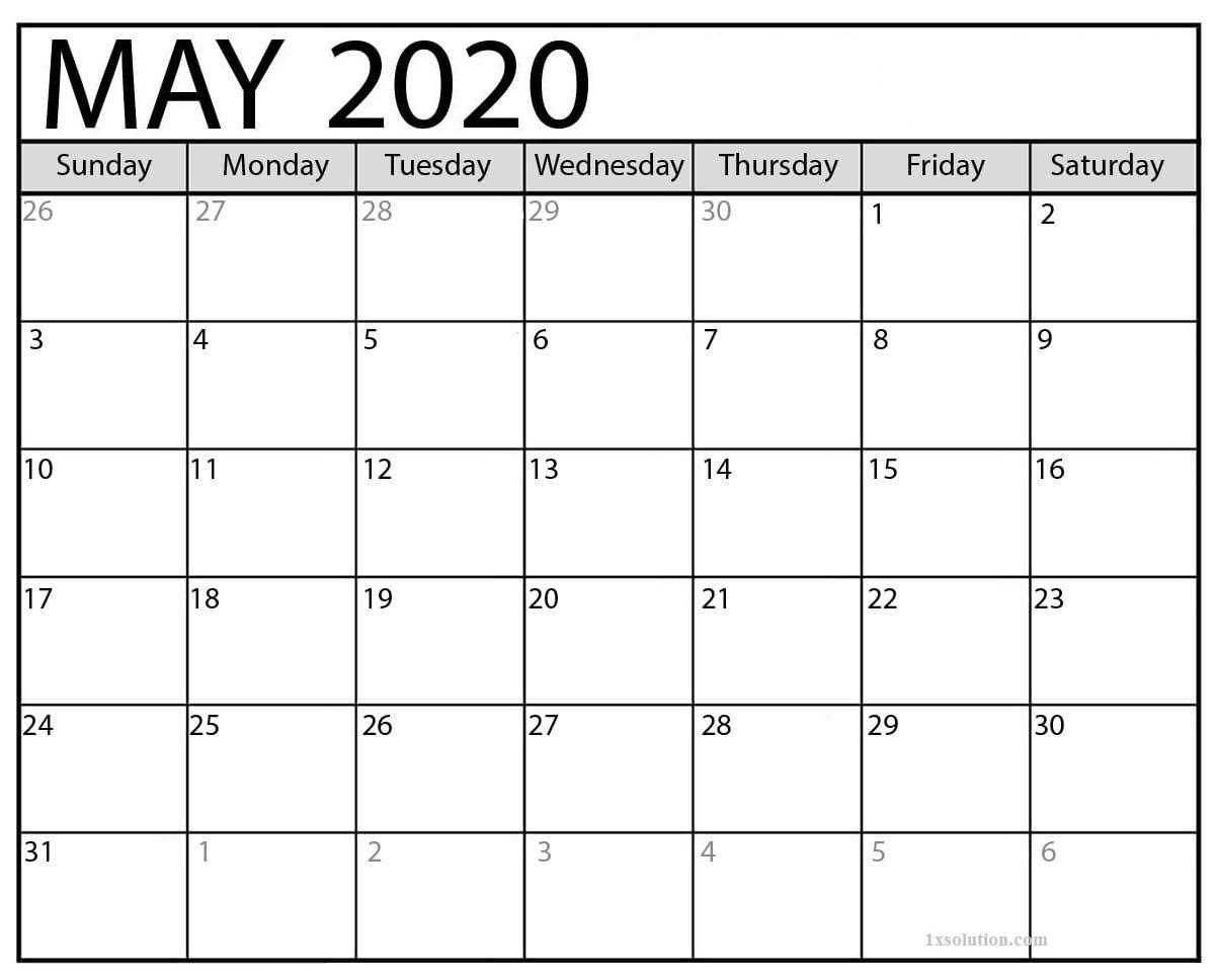 Free May 2020 Calendar Excel