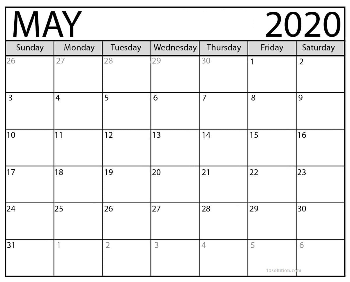 Free May 2020 Calendar PDF
