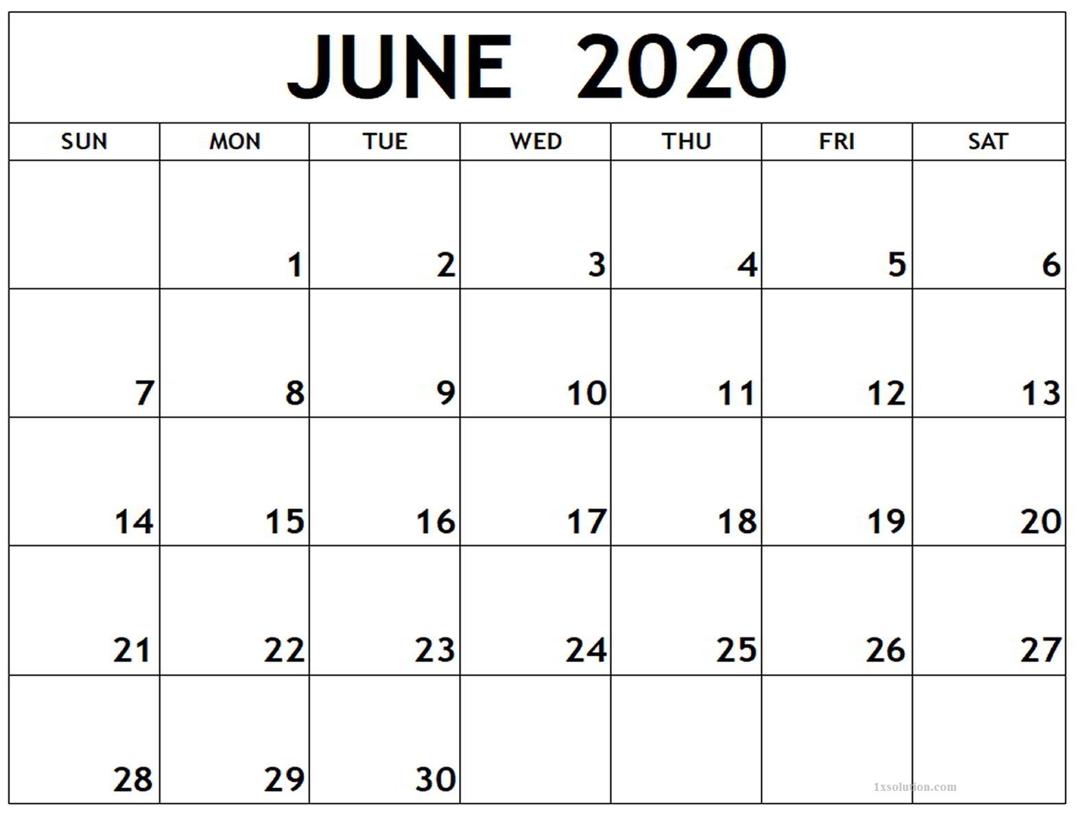 June 2020 Calendar Excel Planner
