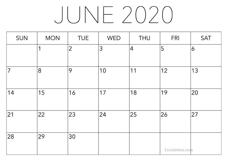 June 2020 Calendar Excel Sheet