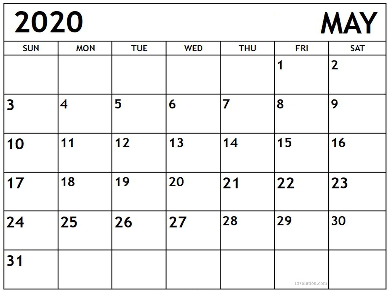 May 2020 Calendar PDF Sheet