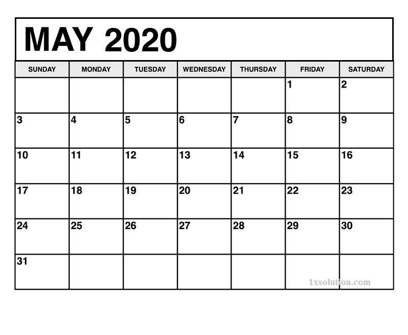 May 2020 Excel Calendar
