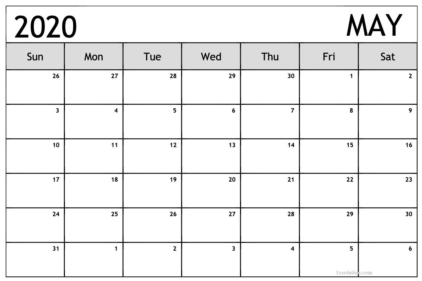 May 2020 PDF Calendar