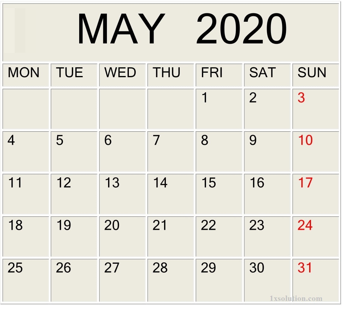 PDF Calendar For May 2020