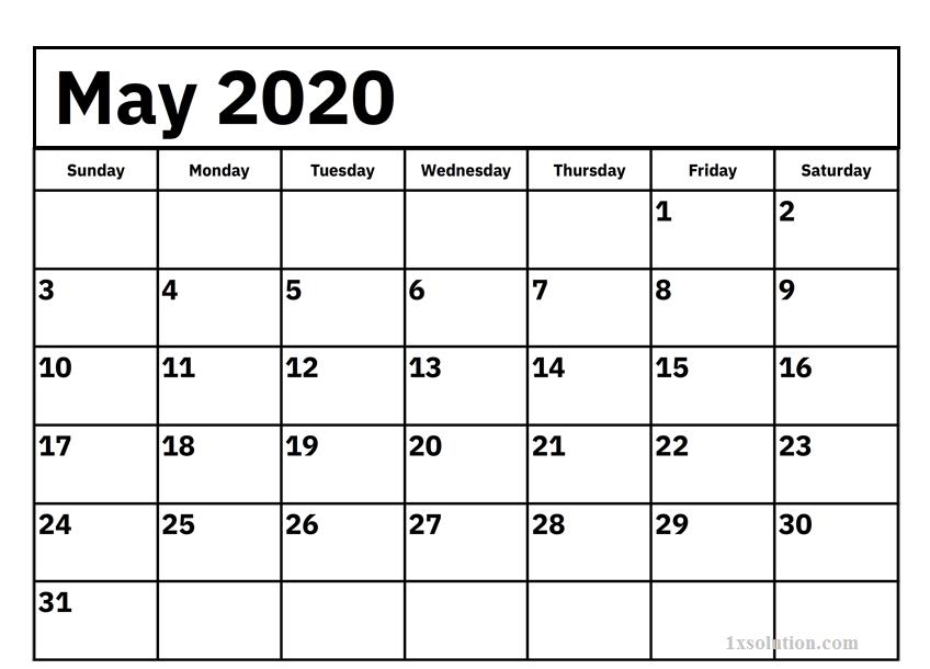 PDF May 2020 Calendar Excel