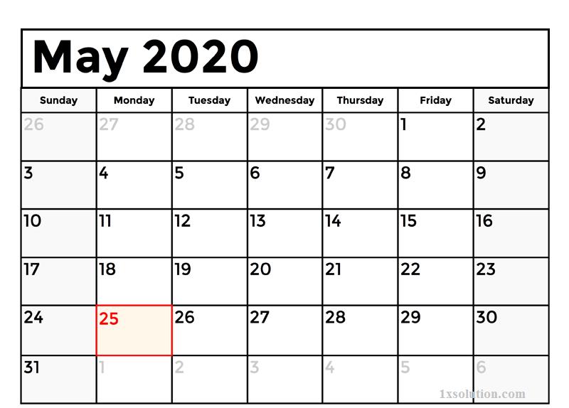 Print May 2020 Calendar Excel