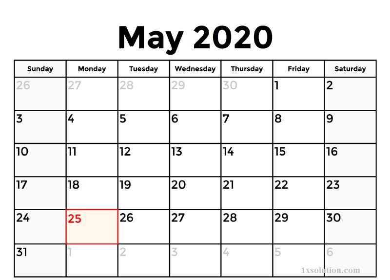 Printable 2020 May Calendar