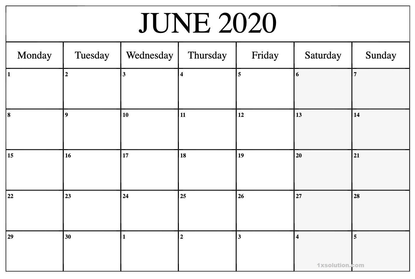 Blank 2020 June Calendar