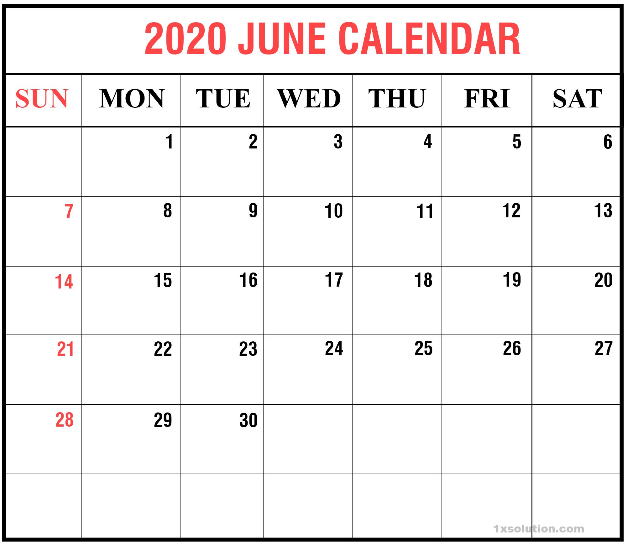 Blank Calendar 2020 June