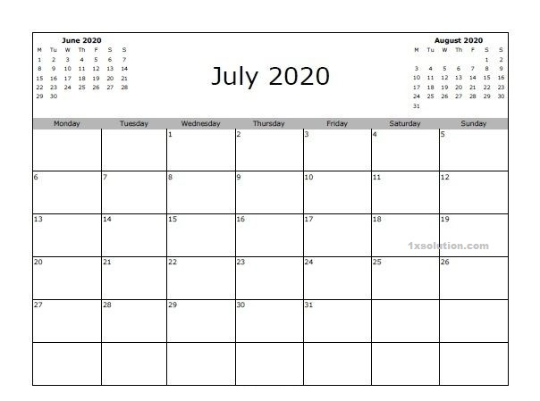 Blank June 2020 Calendar Download