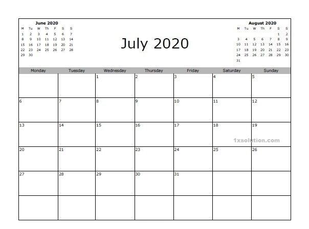 Blank June 2020 Calendar Download