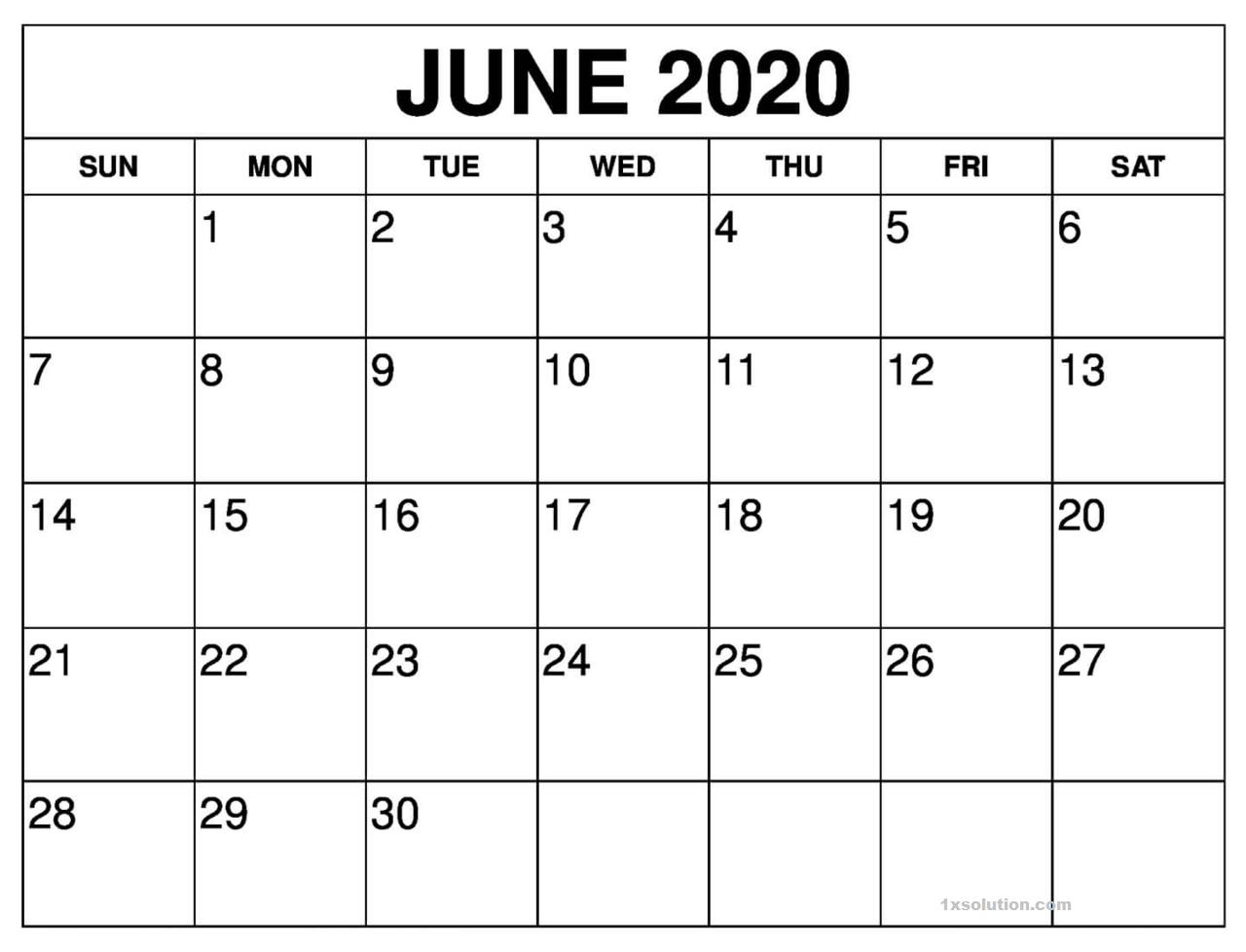 Blank June 2020 Calendar PDF