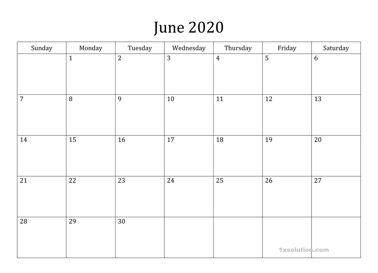 Cute June 2020 Calendar PDF