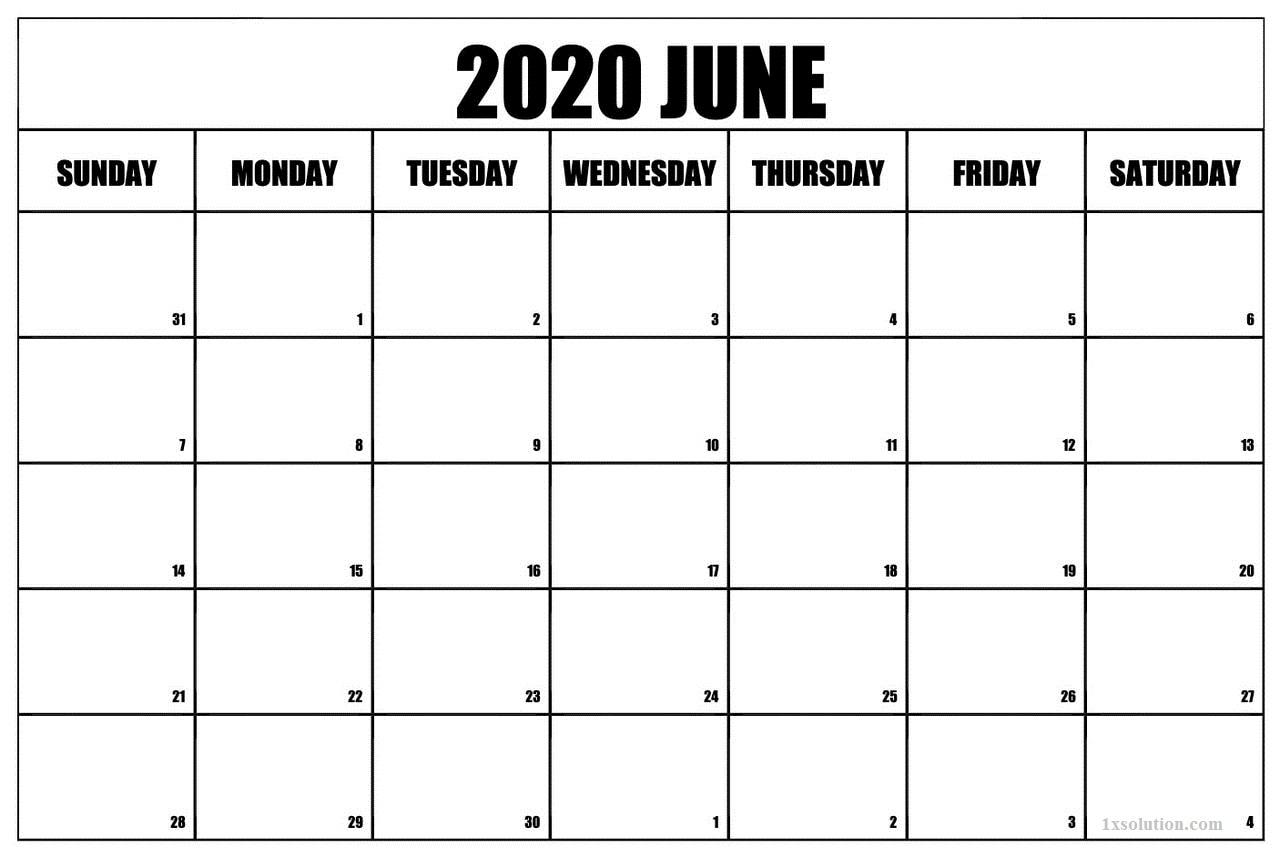 PDF June 2020 Calendar