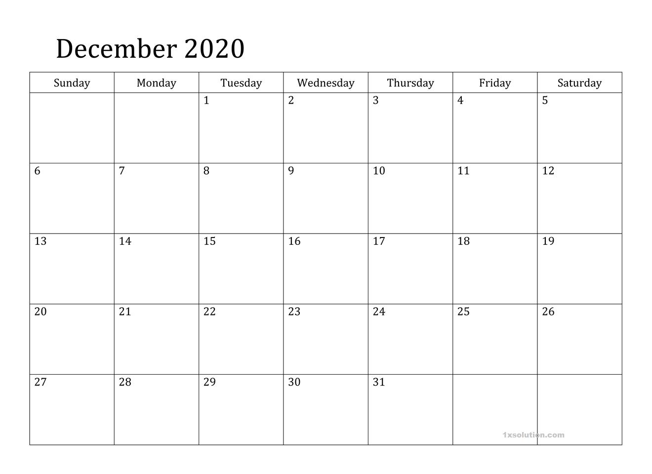 2020 December Calendar PDF
