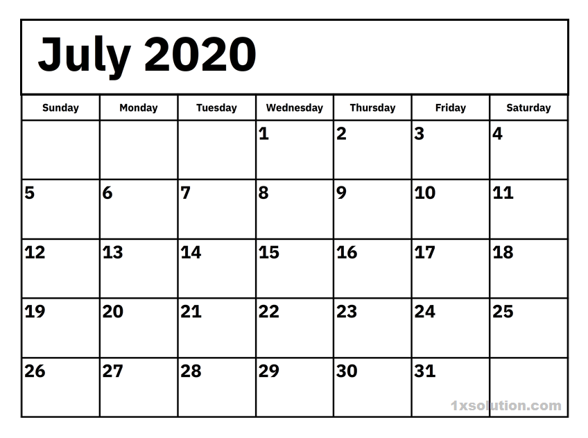 2020 July Calendar PDF