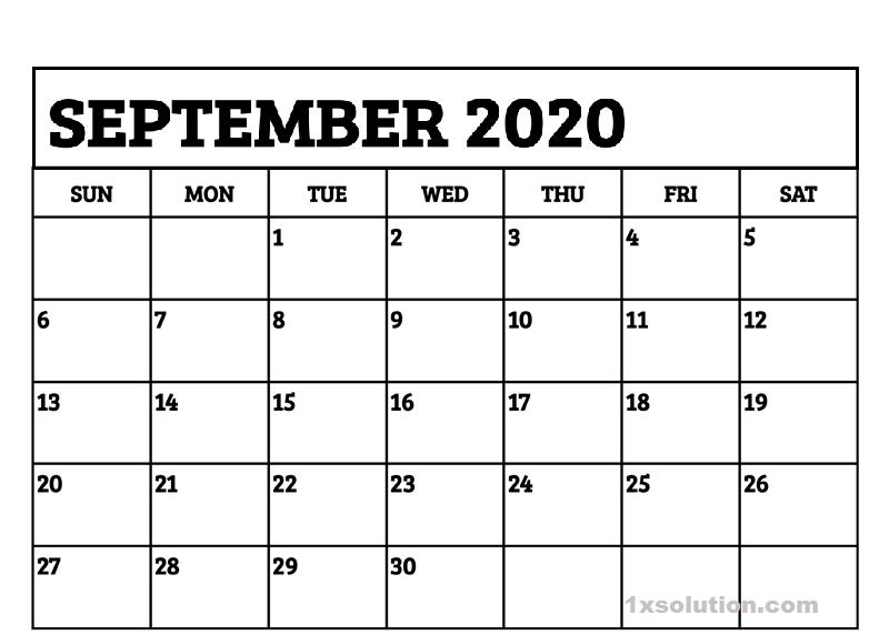 2020 September Calendar Excel