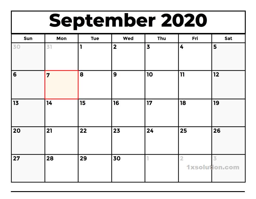 2020 September Calendar PDF