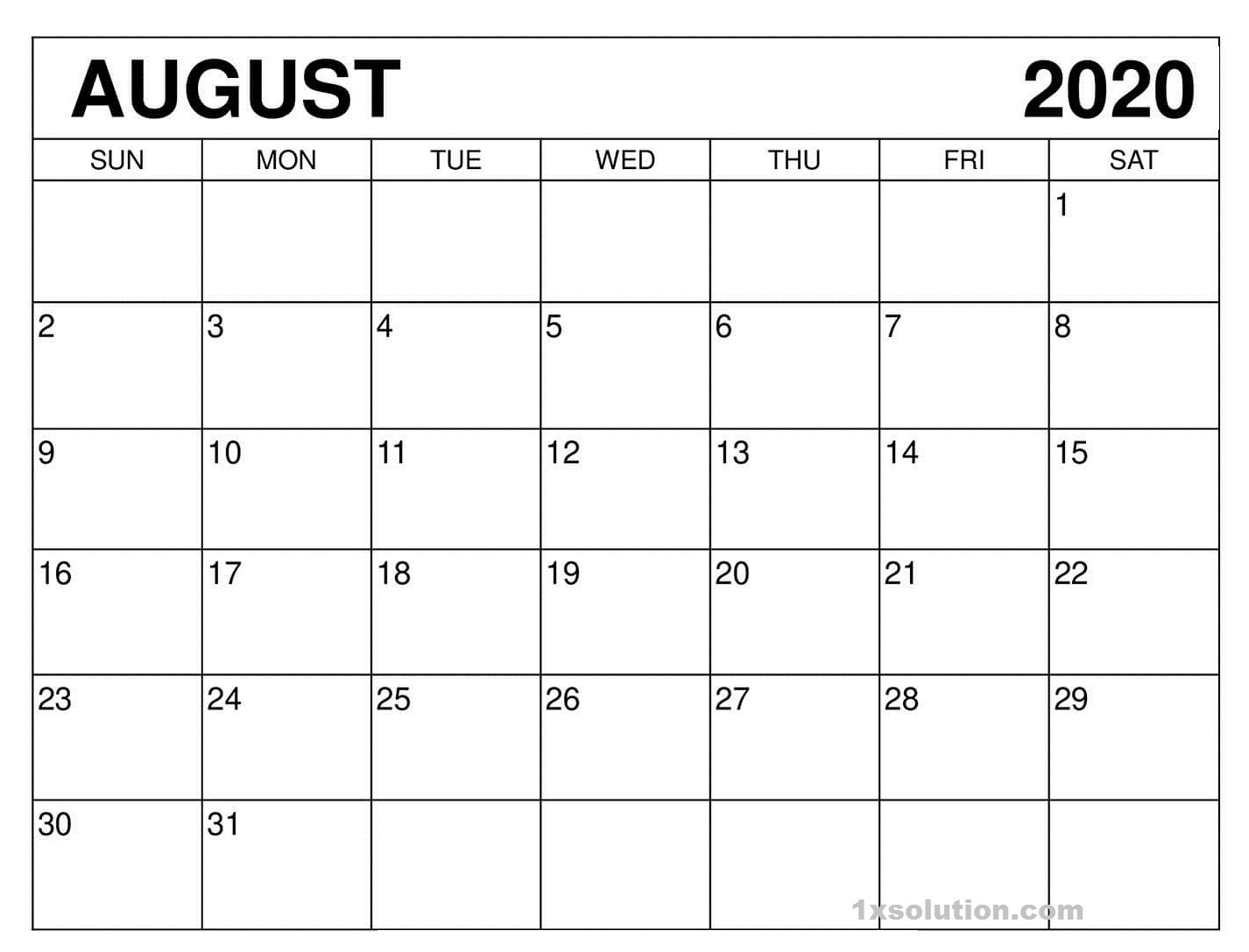 August 2020 Calendar Excel Sheet