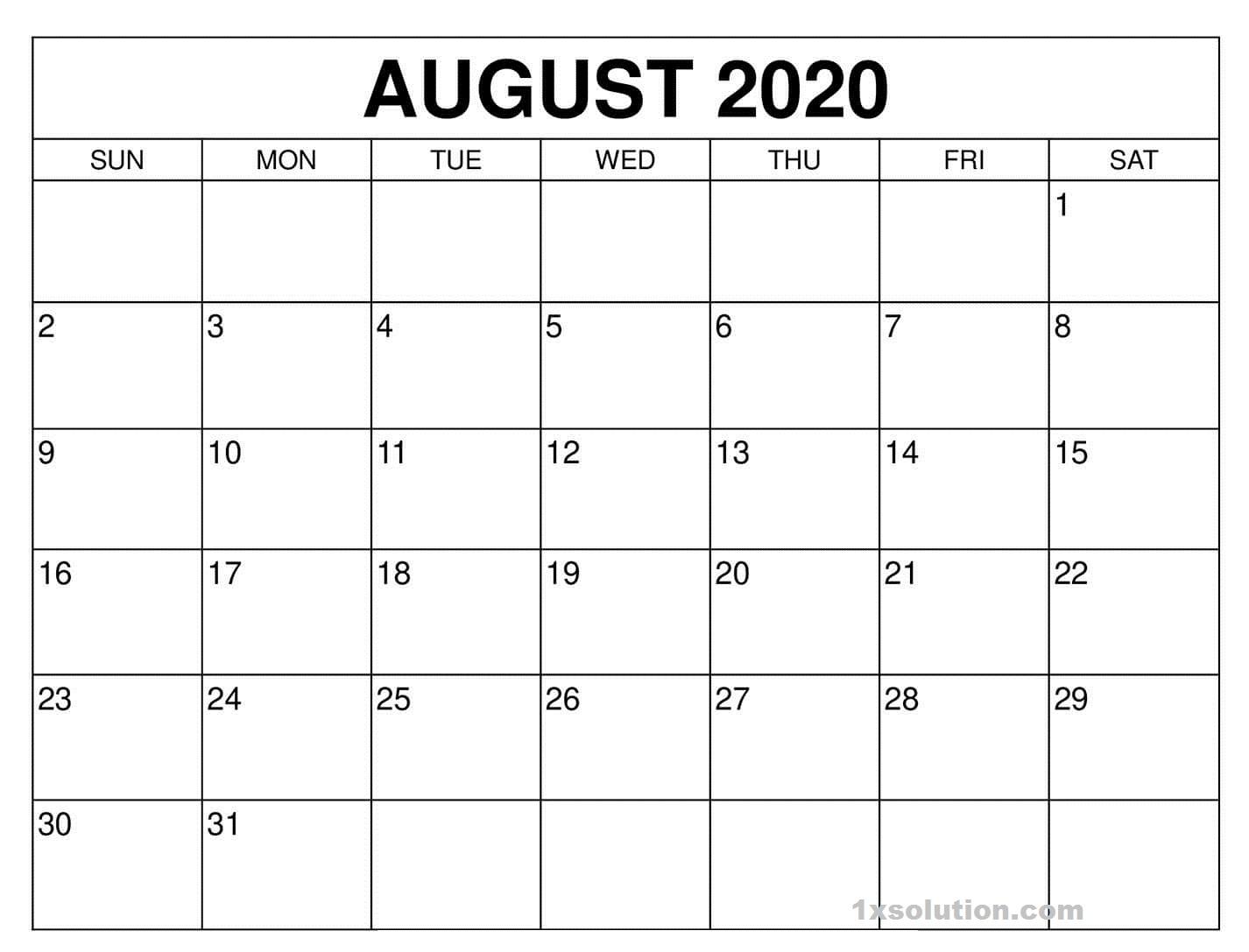 August 2020 Calendar Free
