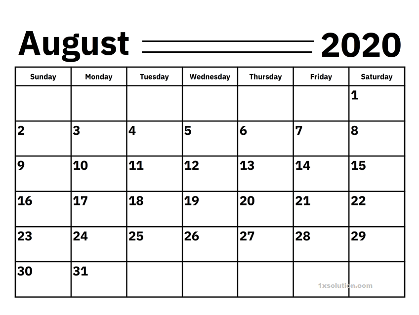 Blank 2020 August Calendar