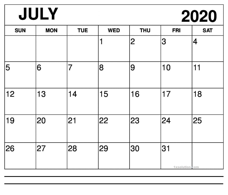 Blank 2020 July Calendar
