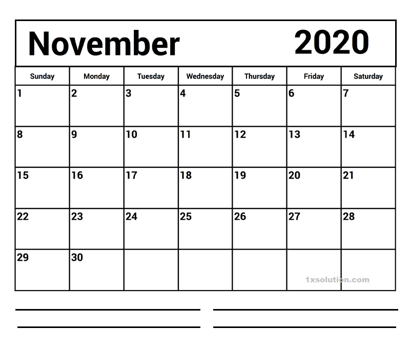Blank 2020 November Calendar