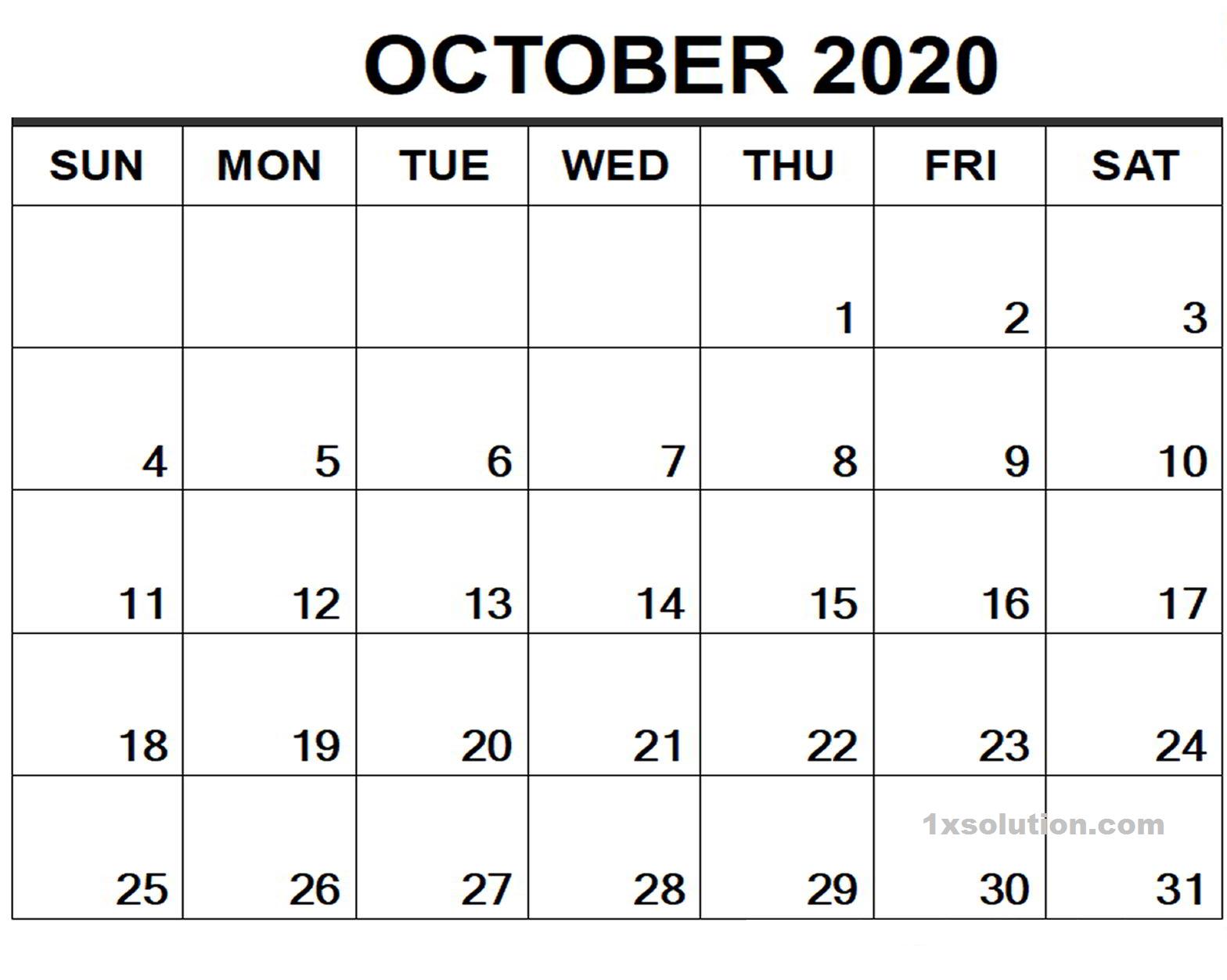 Blank 2020 October Calendar