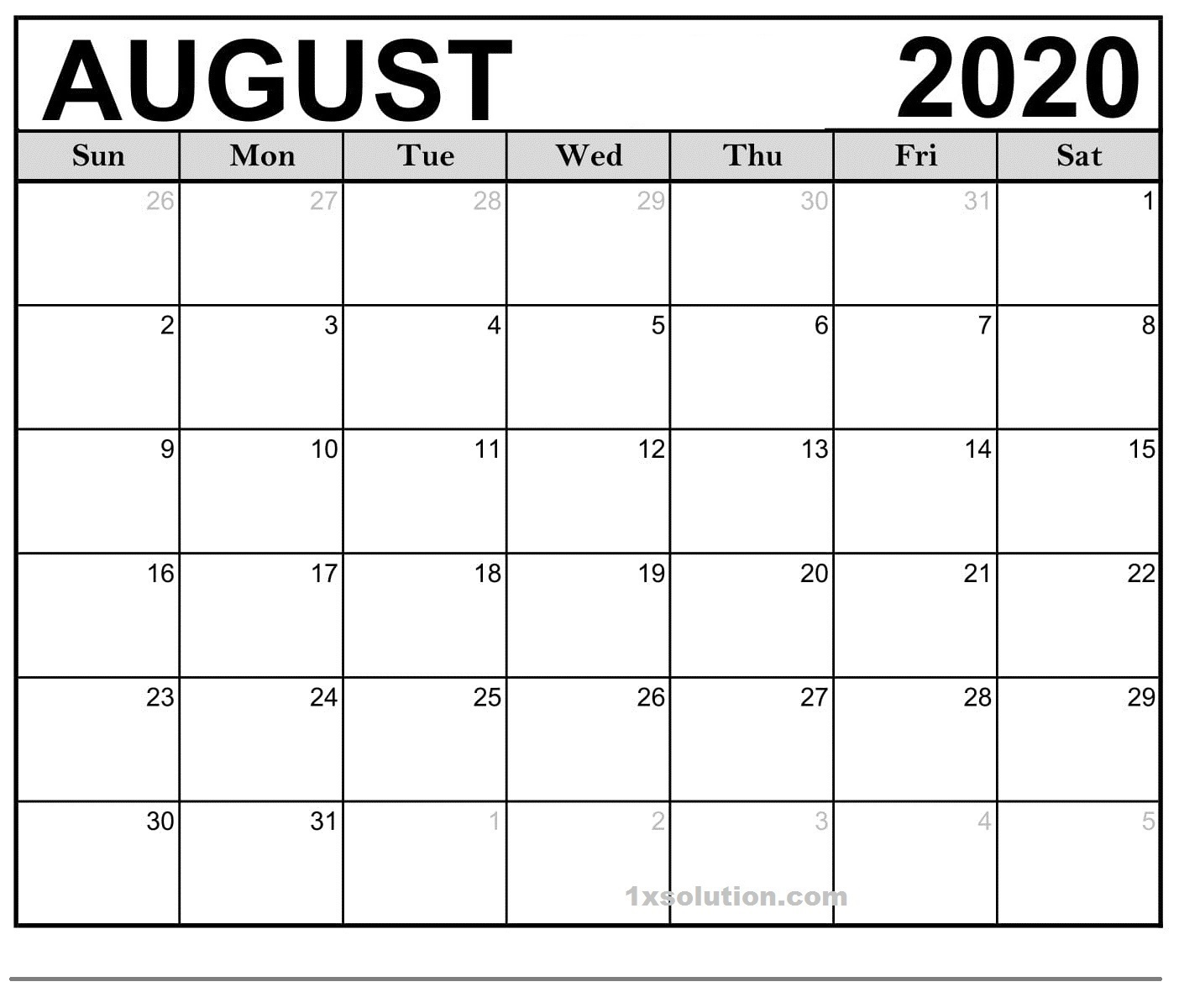 Blank August 2020 Calendar Download