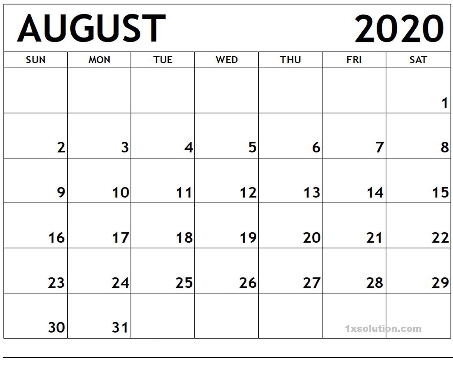 Blank August 2020 Calendar Planner