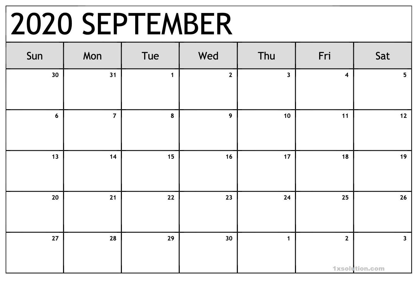 Blank Calendar 2020 September