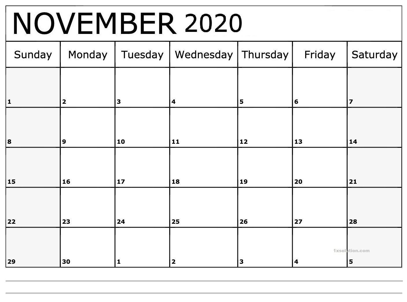 Blank Calendar November 2020