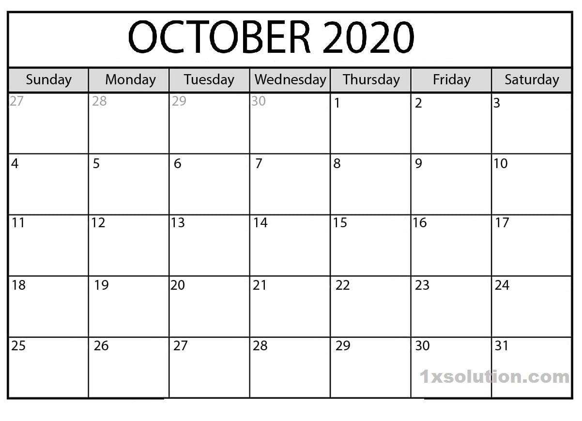 Blank Calendar October 2020