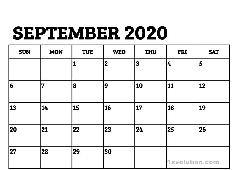 Blank Calendar September 2020