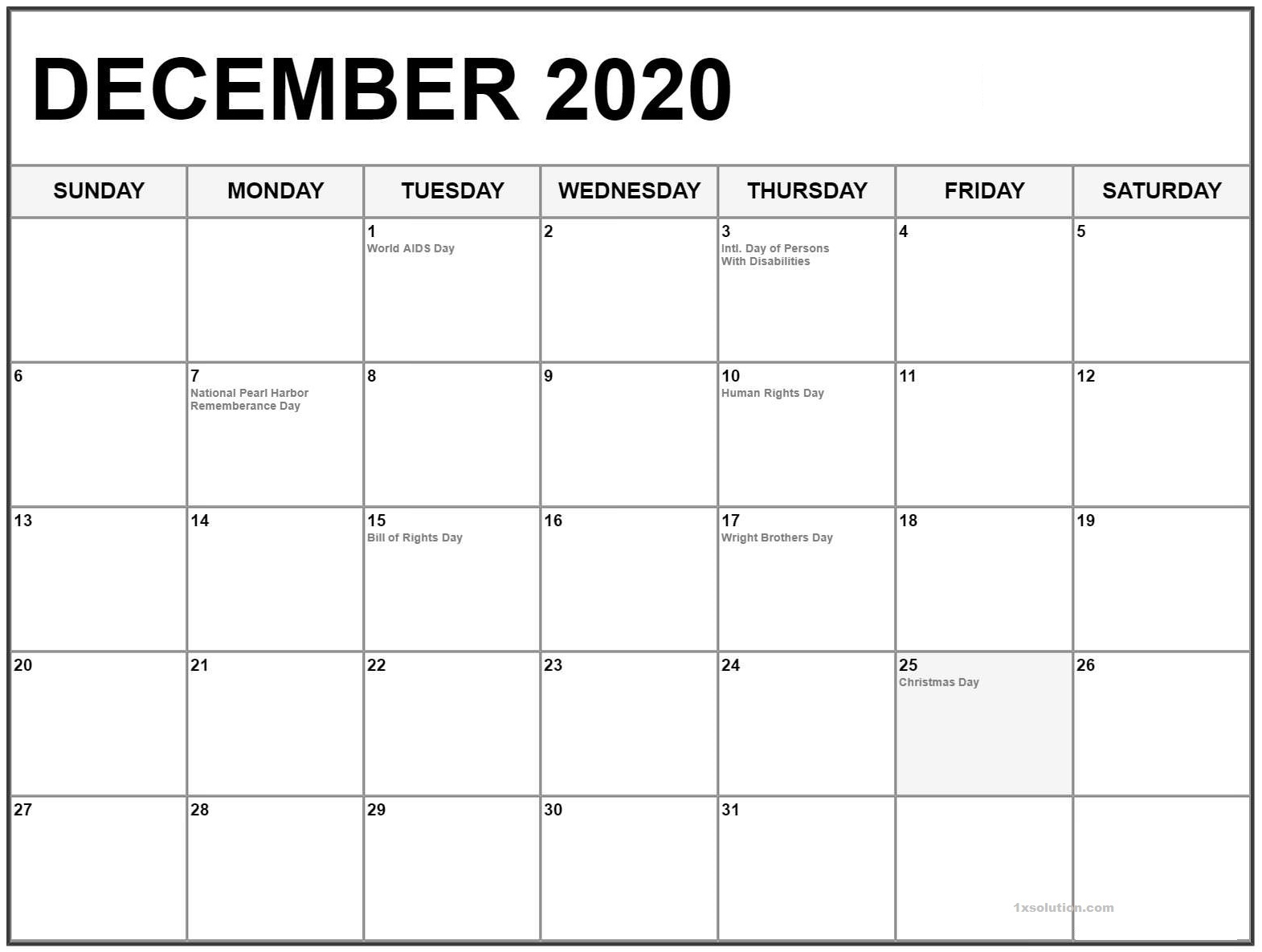 Blank December 2020 Calendar PDF