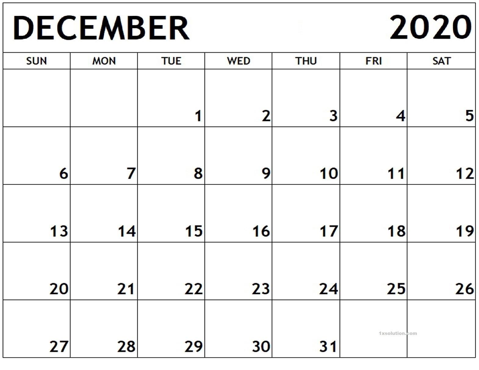 Blank December 2020 Calendar Printable