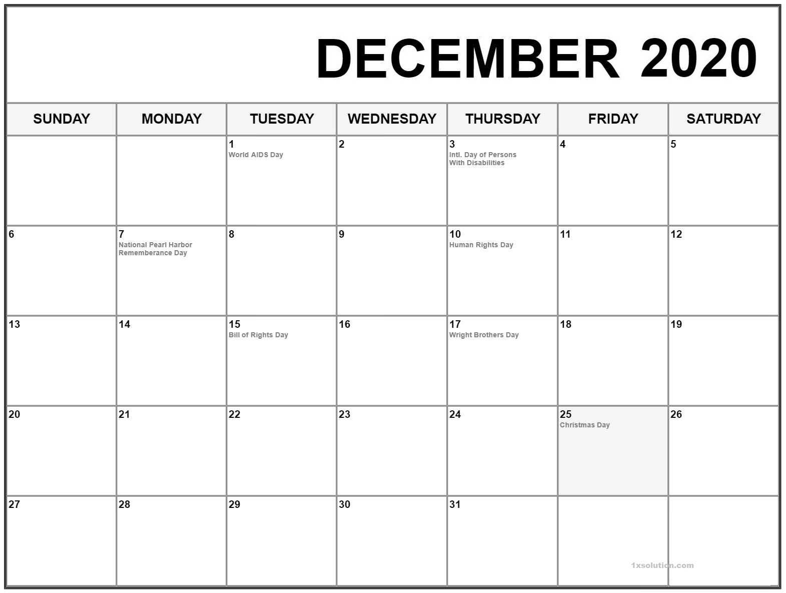 Blank December 2020 Calendar With Holidays