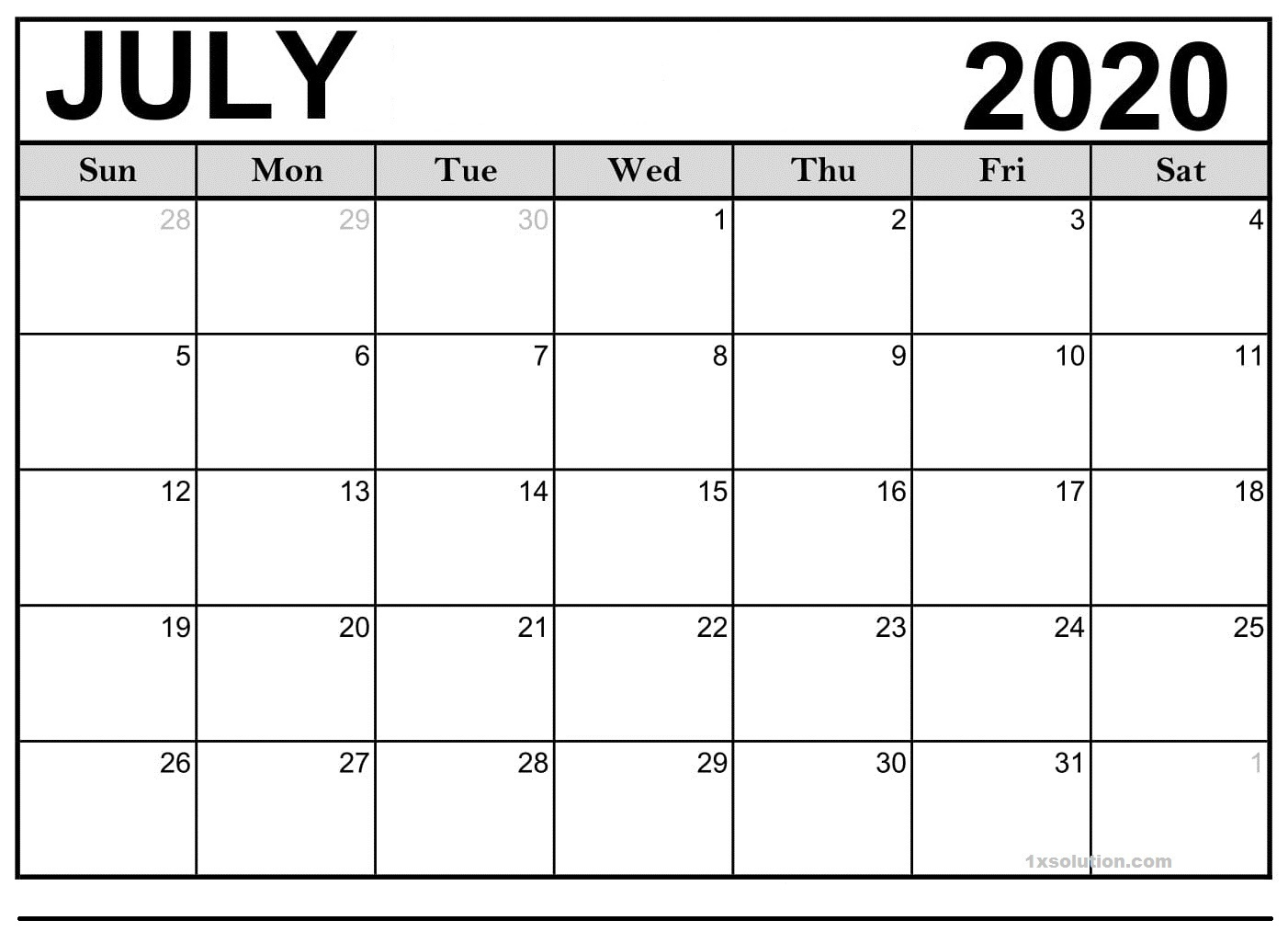 Blank July 2020 Calendar Free