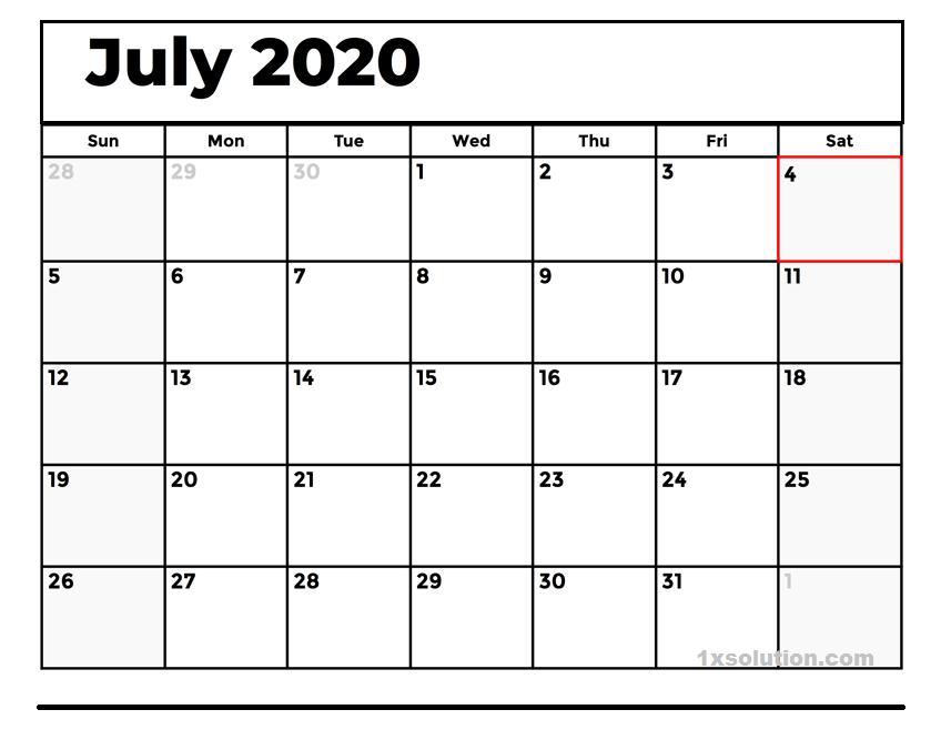 Blank July 2020 Calendar download