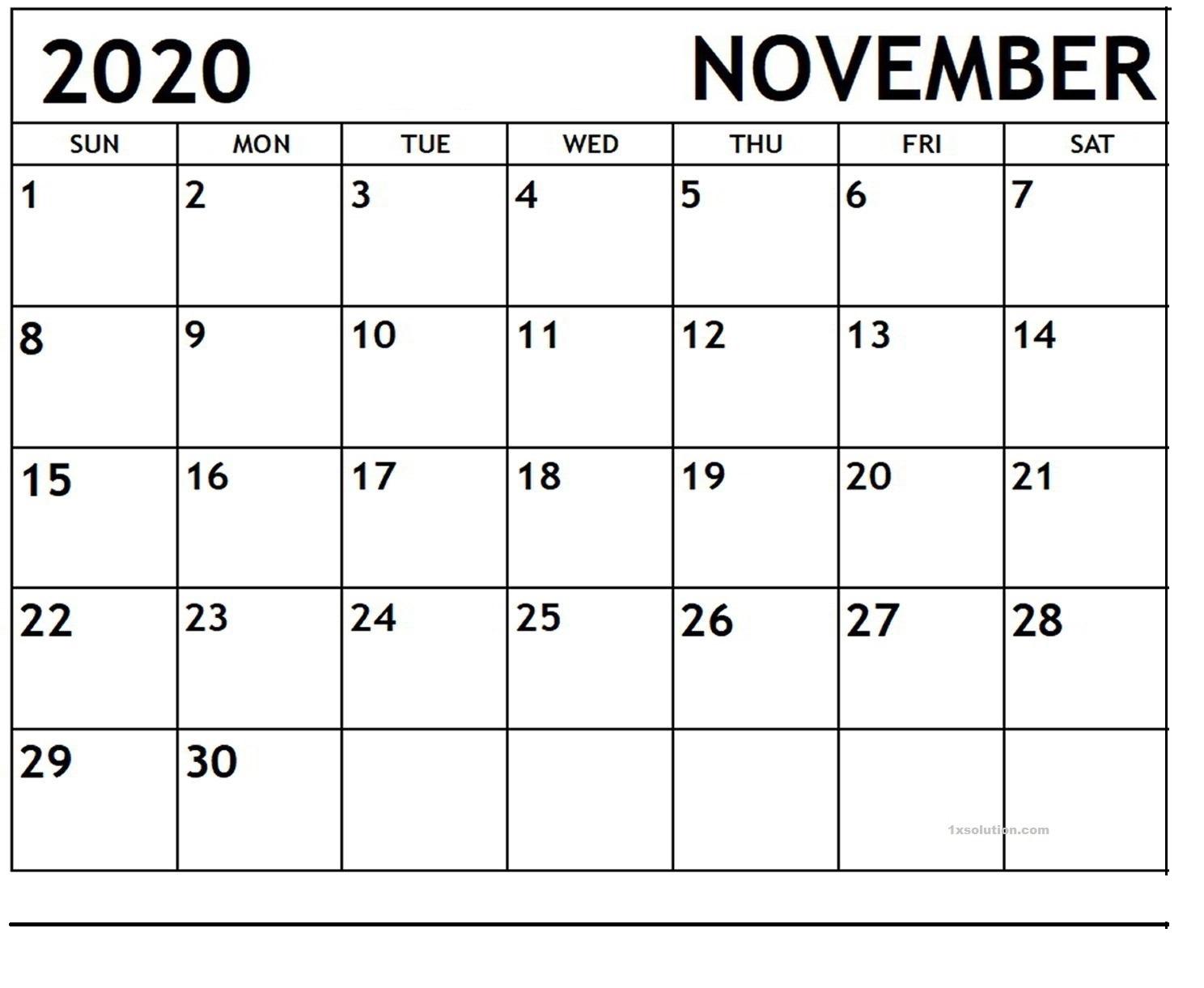 Blank November 2020 Calendar Download