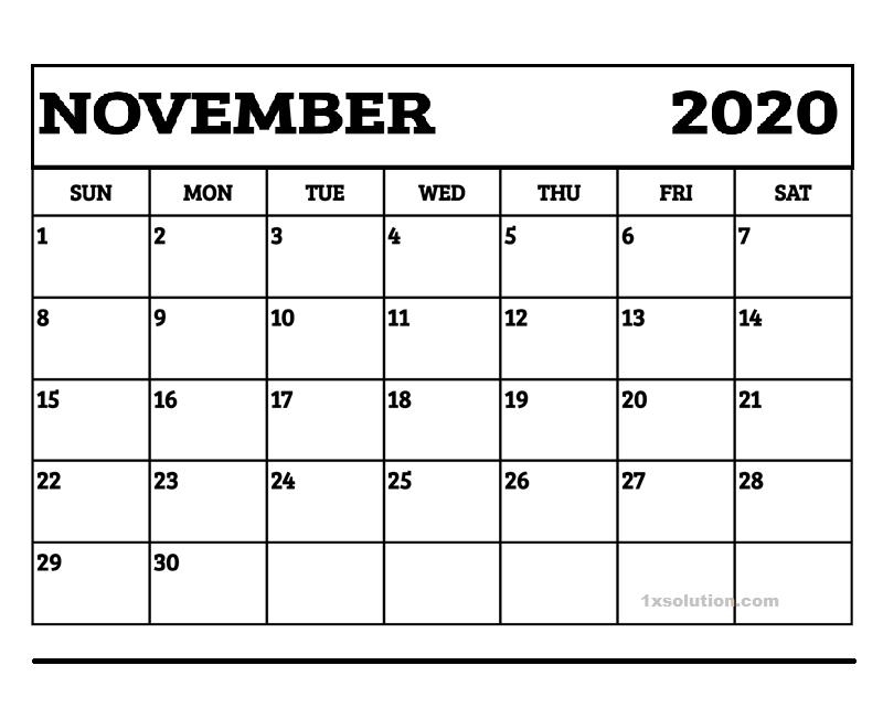 Blank November 2020 Calendar Free