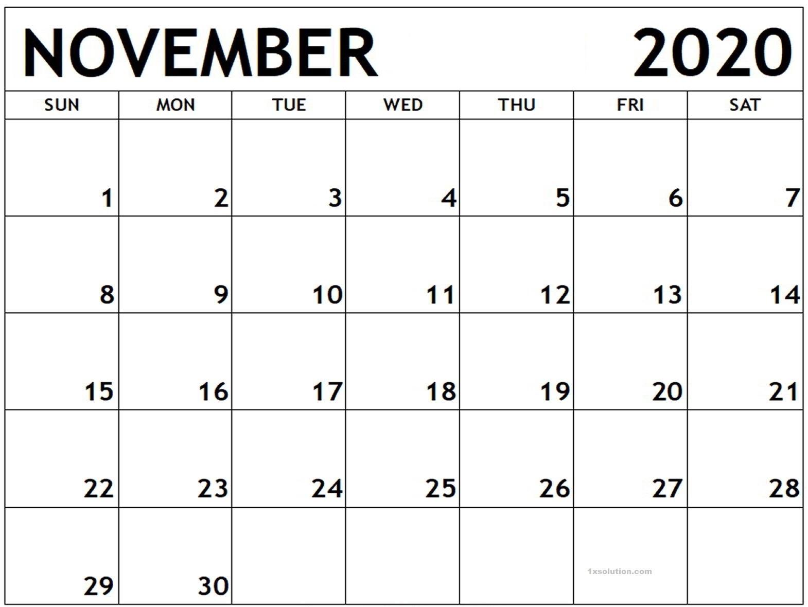 Blank November 2020 Calendar PDF
