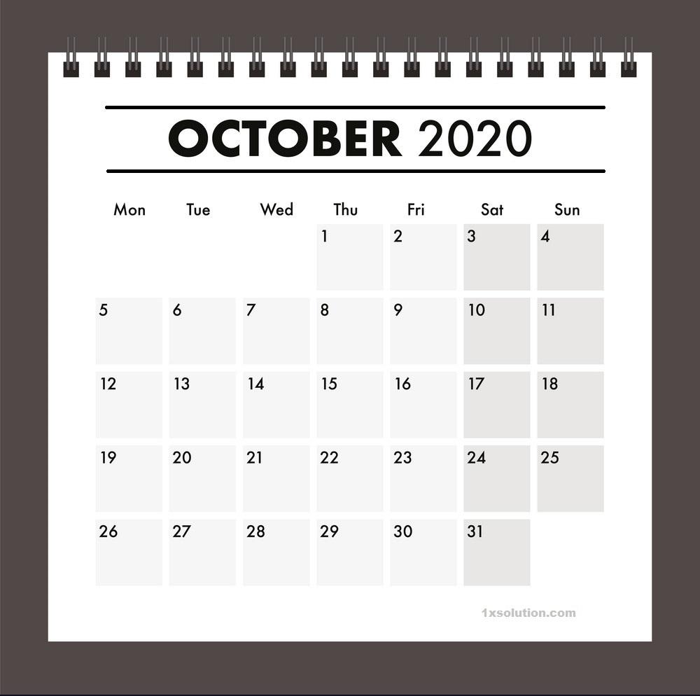 Blank October 2020 Calendar Cute