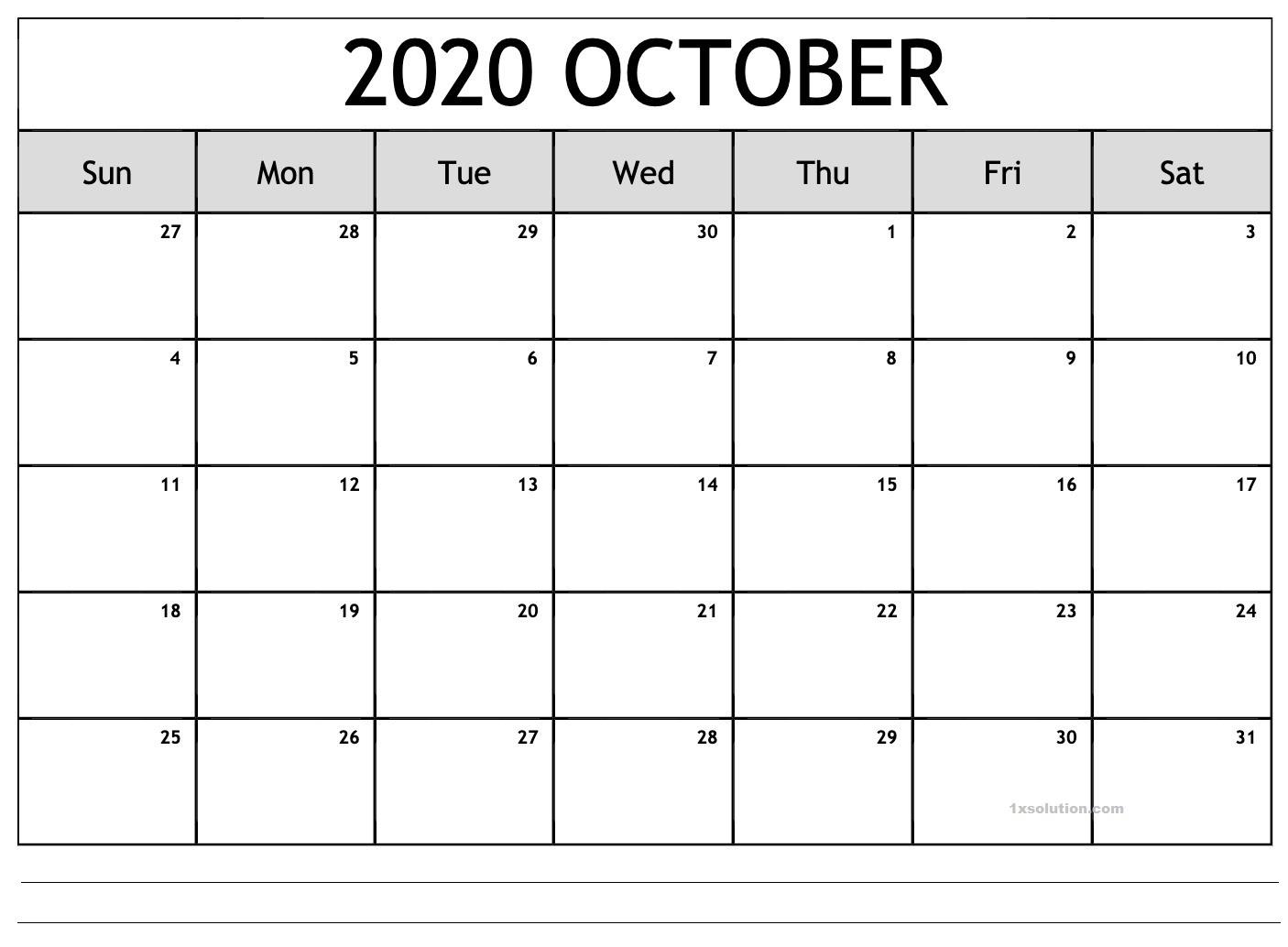 Blank October 2020 Calendar Excel