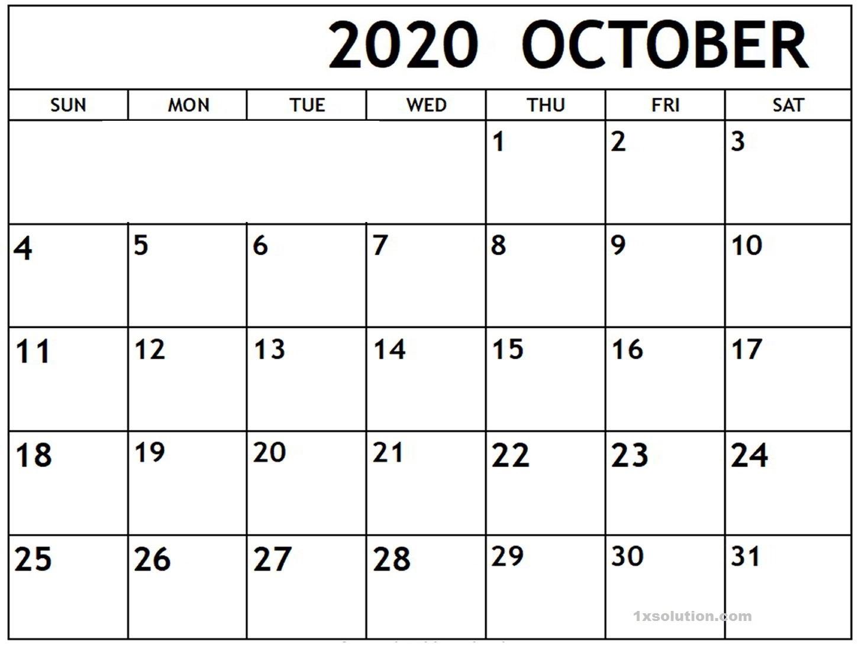 Blank October 2020 Calendar PDF