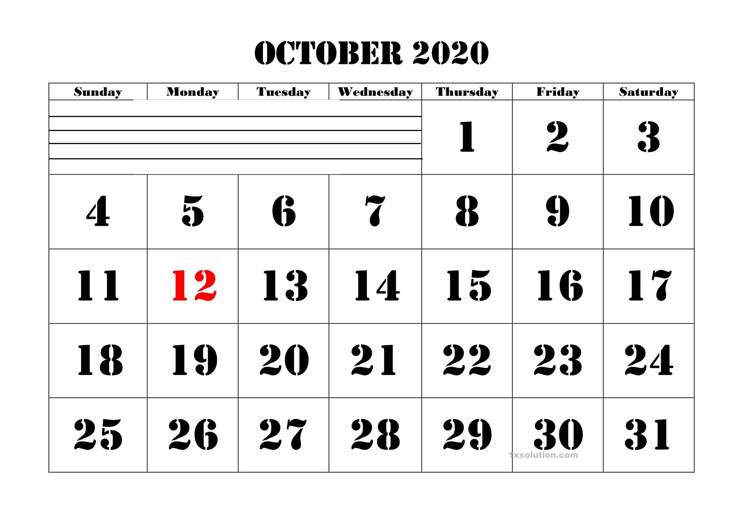 Blank October 2020 Calendar Sheet