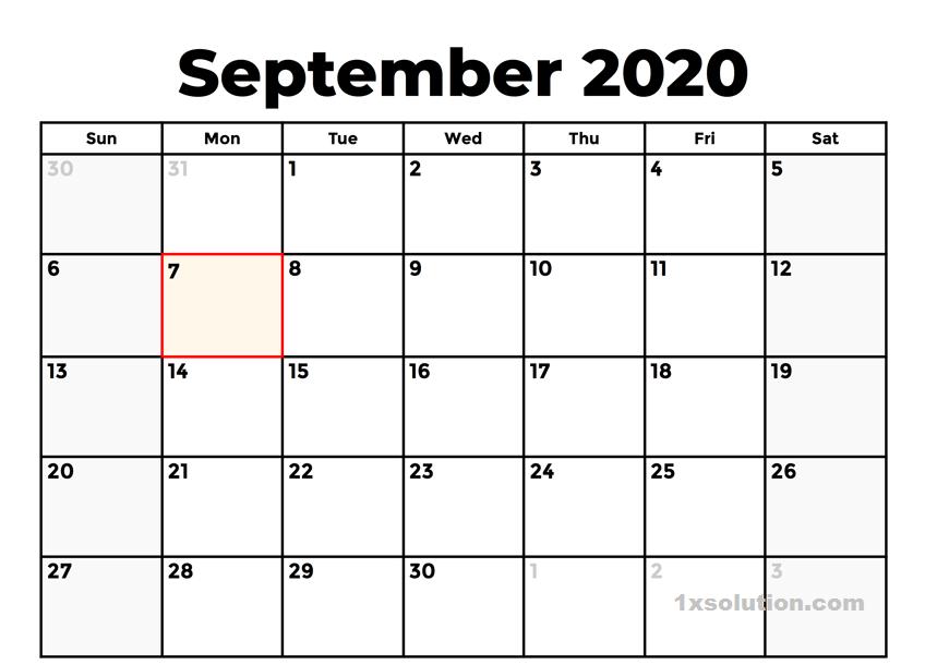Blank September Calendar 2020